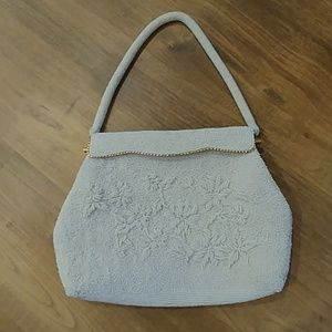 Vintage White Glass Beaded Evening Bag Handbag